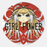 Anime Girl Power Classic Round Sticker