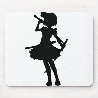 Anime Girl Silhouette With katanas Mousepad