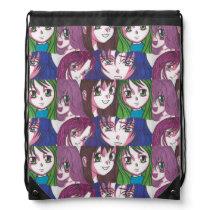Anime girls draw string bag