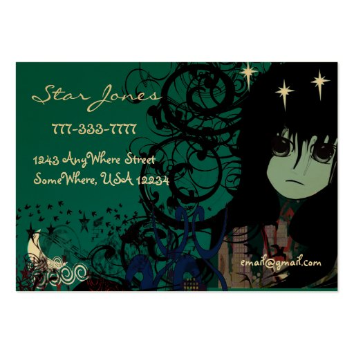 Anime Girls Moon Cloud Stars Business Card Template