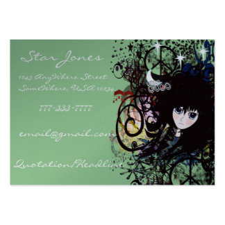Anime Girls Swirls and Peace Large Business Card