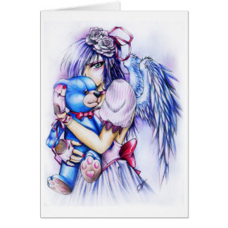 Anime Gothic Pink Angel Girl With Teddy Cards