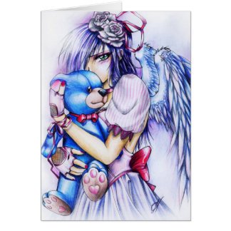 Anime Gothic Pink Angel Girl With Teddy Card
