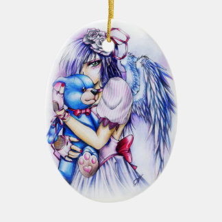 Anime Gothic Pink Angel Girl With Teddy Ceramic Ornament