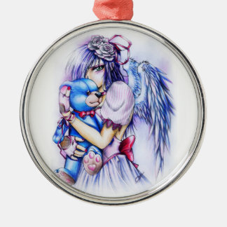 Anime Gothic Pink Angel Girl With Teddy Metal Ornament