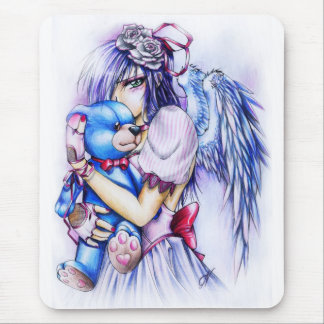 Anime Gothic Pink Angel Girl With Teddy Mouse Pad