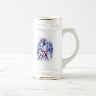 Anime Gothic Pink Angel Girl With Teddy 18 Oz Beer Stein