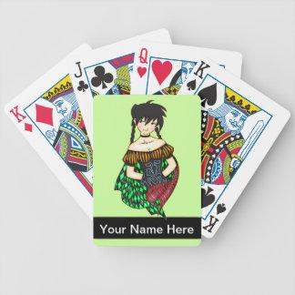 Anime Gypsy Girl Playing Cards