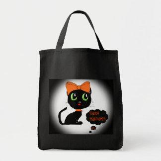 Anime Halloween Black Cat Canvas Bag
