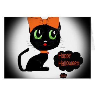 Anime Halloween Black Cat Card
