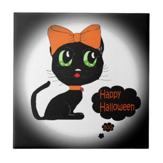 Anime Halloween Black Cat Ceramic Tile