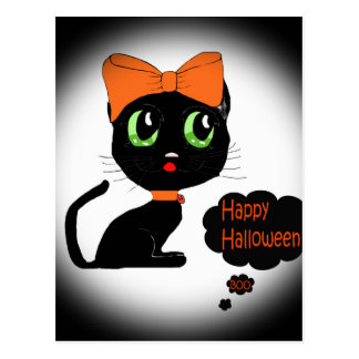 Anime Halloween Black Cat Postcard