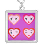 Anime Heart Faces Necklace