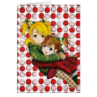 Anime Holiday Hug Greeting Card