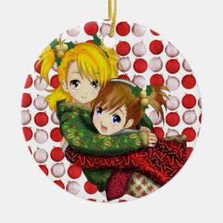 Anime Holiday Hug Double-Sided Ceramic Round Christmas Ornament
