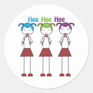 Anime Japanese Girls Giggling Classic Round Sticker