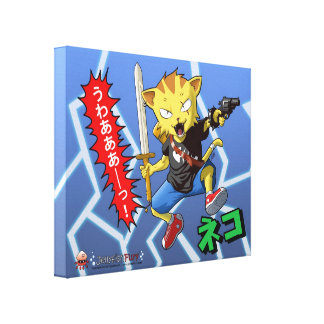 Anime Jumping Cat with Gun and Sword and Lightning Canvas Print