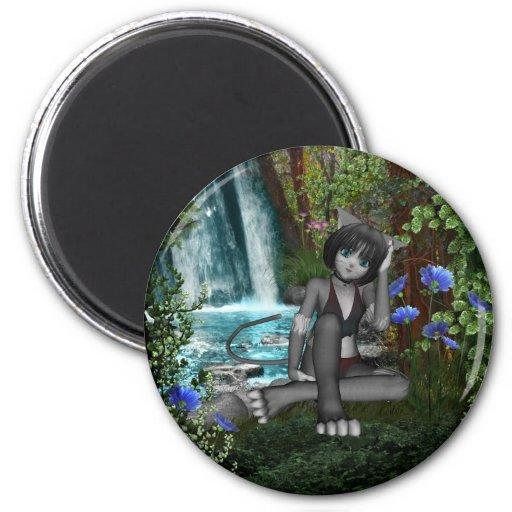 Anime Kitten Waterfalls 2 2 Inch Round Magnet