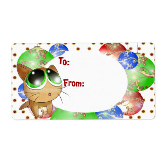Anime Kitty Gift Tag Personalized Shipping Label