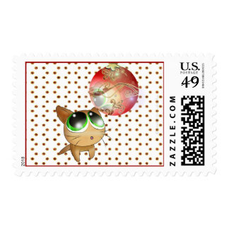Anime Kitty Holiday Postage Stamp