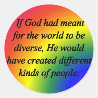 Anime la diversidad (sq) pegatina redonda