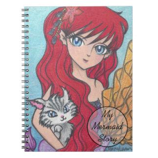 Anime Mermaid Catfist Art Print personalizable Notebook