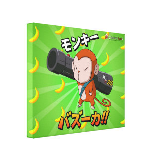 Anime Monkey with Rocket Launcher and Bananas Canvas Print