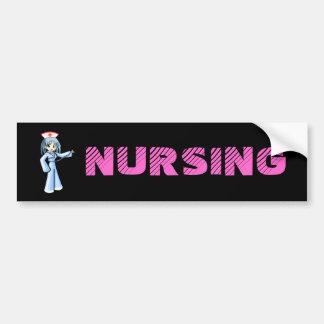 Anime Nurse with Stethoscope Blue Uniform Bumper Sticker