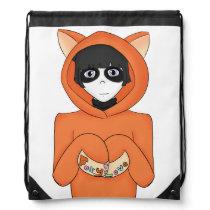 Anime Panda Girl Wearing A Fox Hoodie Drawstring Backpack