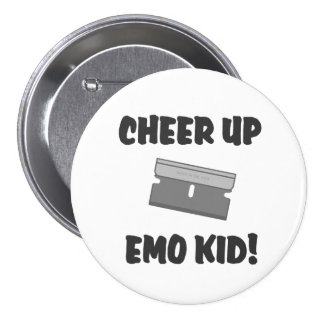 ¡Anime para arriba al niño de Emo! Pin Redondo De 3 Pulgadas