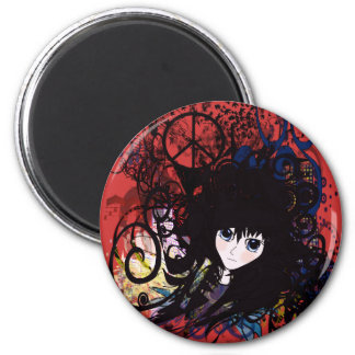 Anime Peace Grunge 2 Inch Round Magnet