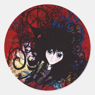 Anime Peace Grunge Classic Round Sticker