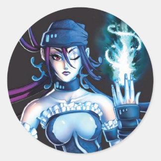 Anime Pirate Girl Round Sticker