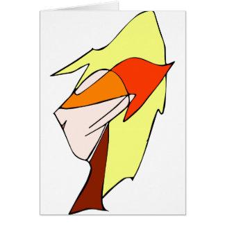 Anime profile in orange glasses card
