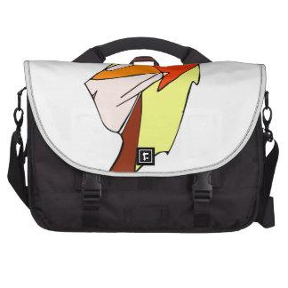 Anime profile in orange glasses laptop bags