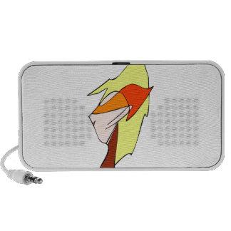 Anime profile in orange glasses laptop speakers