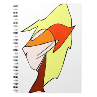 Anime profile in orange glasses note book