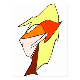 Anime profile in orange glasses post cards