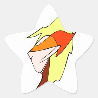 Anime profile in orange glasses star stickers