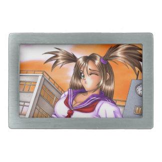 Anime School Girl Nikki Rectangular Belt Buckle