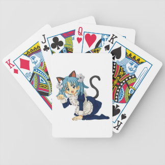 Anime Schoolgirl Cat on her Knees in Maid Dress Bicycle Playing Cards