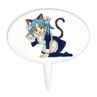 Anime Schoolgirl Cat on her Knees in Maid Dress Cake Topper