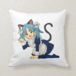 Anime Schoolgirl Cat on her Knees in Maid Dress Throw Pillows