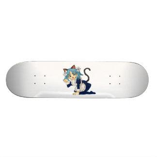 Anime Schoolgirl Cat on her Knees in Maid Dress Skateboard