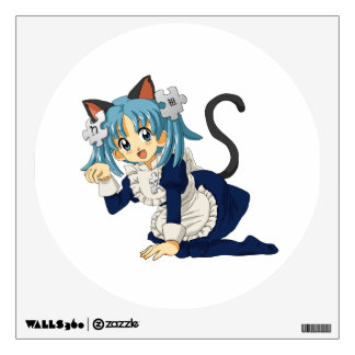Anime Schoolgirl Cat on her Knees in Maid Dress Wall Decal