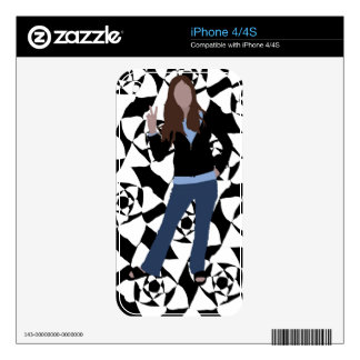 anime silhouette vector girl with black white decal for iPhone 4