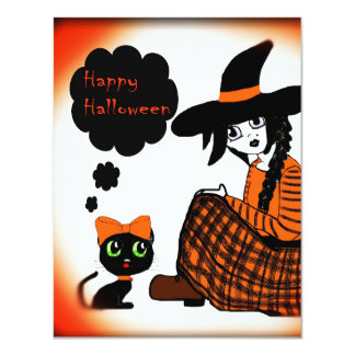 Anime Sitting Halloween Witch Card