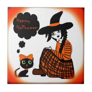 Anime Sitting Halloween Witch Ceramic Tiles