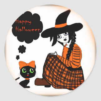Anime Sitting Halloween Witch Classic Round Sticker