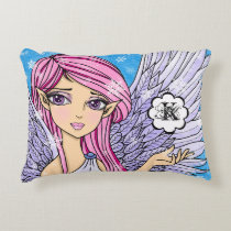 Anime Snow Angel Personalizabel art print Accent Pillow
